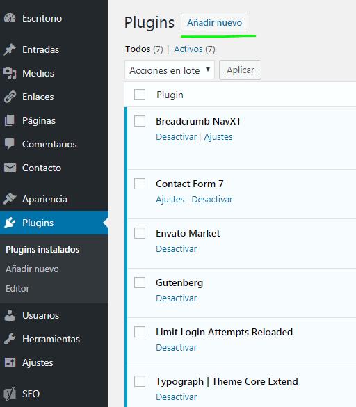 Paso 5 Como instalar o añadir plugins en WordPress - tutorial como crear una pagina web en wordpress