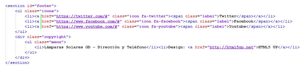 Paso 10 Editar pie de pagina y redes sociales - como crear una pagina web en html