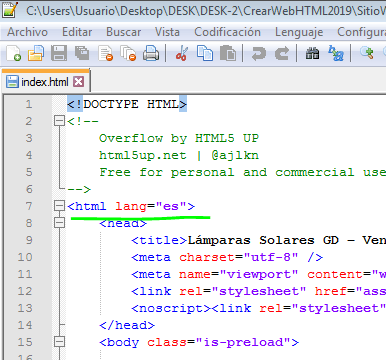 Paso 4 Establecer idioma de la pagina HTML - como crear una pagina web en html