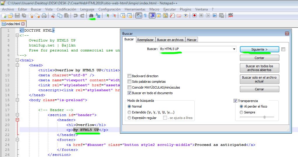 Paso 5 Buscar y sustituir textos - como crear una pagina web en html