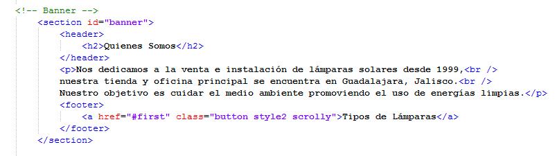 Paso 6 codigo html para quienes somos - como crear una pagina web en html