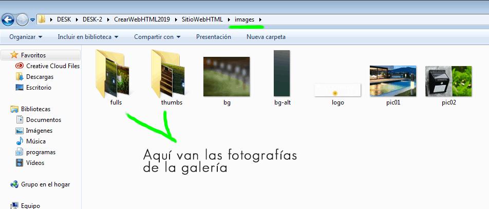 Paso 7 Buscar y sustituir imágenes de galeria desde el folder images - como crear una pagina web en html