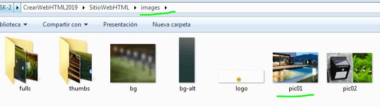 Paso 7 Buscar y sustituir imágenes pic01 en folder para sustituir - como crear una pagina web en html