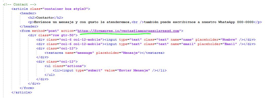 Paso 9 copiar y pegar form action post email - como crear una pagina web en html