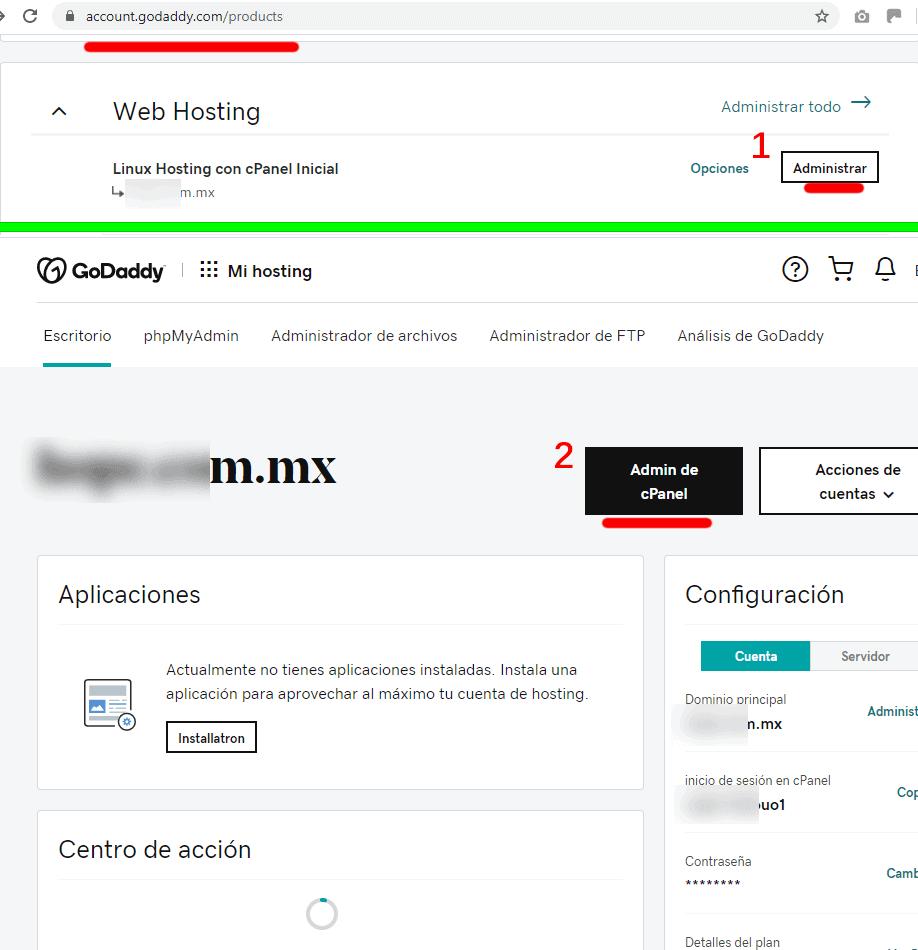como-entrar-a-tu-cpanel-de-hosting-godaddy-linux