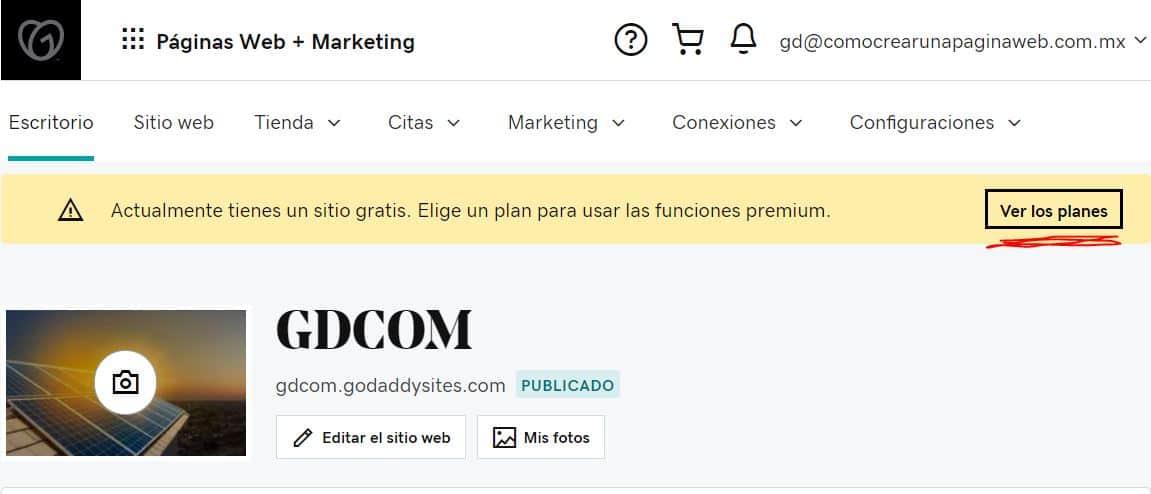 Cómo comprar un plan del creador de páginas web de GoDaddy
