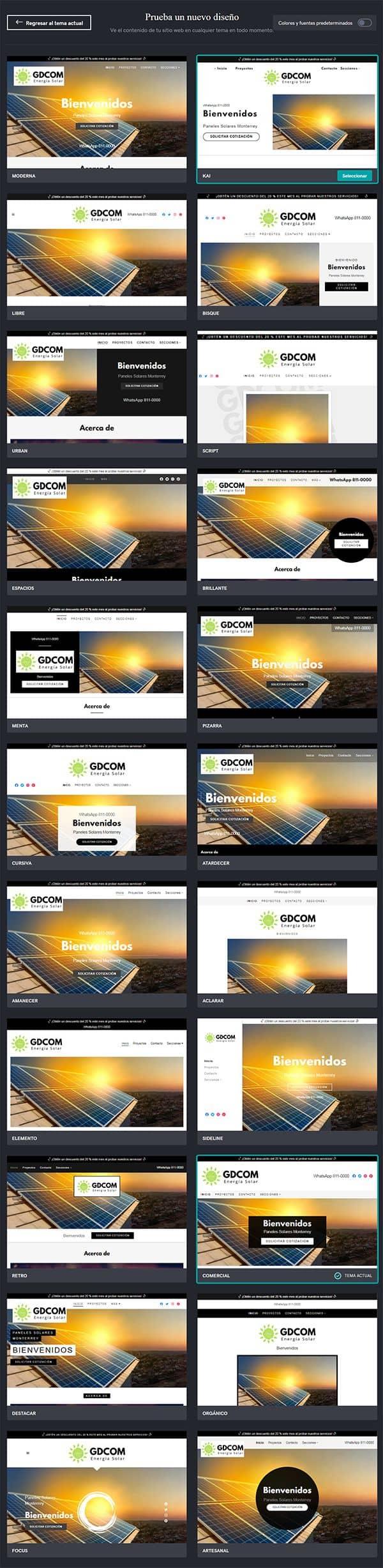 Diseños de temas del creador de páginas web de GoDaddy
